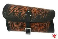 2015 2021 Indian Scout Bobber Swing Arm Saddle Bag Ant Brown Tooled Leather Seat