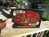 VINTAGE 1940#x27;s PEARL LAGER BEER SIGN EMBOSSED TIN OVER CARDBOARD TOC TEXAS