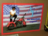ALAN JACKSON showing his Harley Davidson OLD TIN SIGN from Arista Records Date97