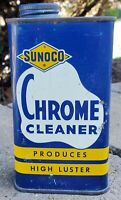 SELDOM FOUND 1940#x27;s 1950#x27;s SUNOCO GAS STATION CHROME CLEANER METAL CAN