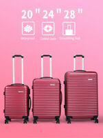 3 Pcs Luggage Set Red 20#x27;#x27;24quot;28quot; Hardside Suitcase Lightweight w Spinner Wheels