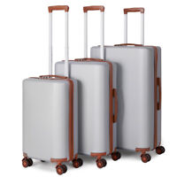 20quot;24quot;28quot; 3Piece Spinner Luggage Set Hardside Expandable with Lock Wheels Silver