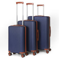 20quot;24quot;28quot;3 Piece Lightweight ABS Hard Side Travel Luggage Set with Carry On Blue