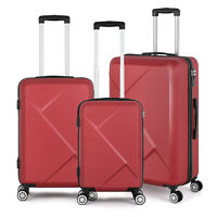 3PCS Hardshell Luggage Suitcase with Spinner Wheelsamp;Security Digital Lock Red
