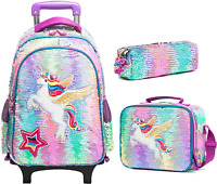Kids Rolling Backpack for Girls Backpack with Wheels Backpack for Girls for