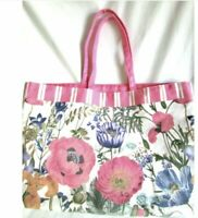 Estee Lauder Poppies Flowers Canvas Bag Pink with handles 20 x 14 NEW