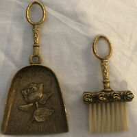 Small Vintage Ornate Brass Crumb Brush With Dust Pan Made By Celeste. With Roses