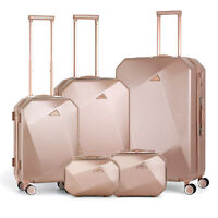 5Pcs Hardside Luggage Lightweight Suitcase w Spinner Wheelsamp;Lock for Carry on