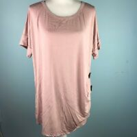 Hello Pink Tunic Buttons Short Sleeve M