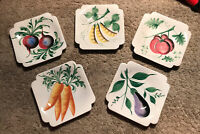 Vintage Set of 5 Salad Plates Hand Painted NSP Made in Italy