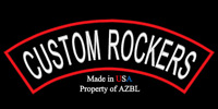 CUSTOM EMBROIDERED TOP ROCKER PATCH 13 INCH CUSTOM EMBROIDERY  MADE IN USA