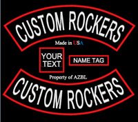 CUSTOM EMBROIDERED PATCH ROCKERS NAME MC SET CLUB EMBROIDERY PATCH MADE IN USA