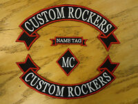CUSTOM EMBROIDERED RIBBON ROCKER SET NAME DIAMOND PATCHES EMBROIDERY MADE IN USA