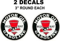 2 Red Hat Motor Oil Gasoline Decals Very Nice Sharp Great For Gas Oil Cans