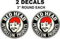 2 Red Head Petroleum Products Motor Oil Gasoline Decals Great For Gas Oil Cans