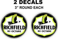 2 Richfield Hi Octane Gasoline Decals Great For Gas Oil Cans and More