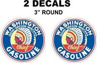 2 Vintage Style Washington Gasoline Decals Great for Dioramas Gas Oil Cans