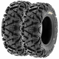 Pair of (2) 25x8-12 25x8x12 ATV UTV SxS All Terrain AT 6 Ply Tires A033 by SunF
