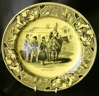CREIL 19c Pottery Transferware DRAGONS Military Plate