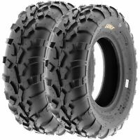 Pair of 2, 25x8-12 25x8x12 ATV UTV All Terrain AT 6 Ply Tires A010 by SunF