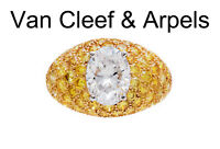 Van Cleef and Arpels 2.04 carat D VS1 and Fancy Yellow Diamonds Ring