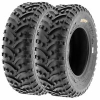 Pair of 2, 25x8-12 25x8x12 Quad ATV UTV All Terrain AT 6 Ply Tires A032 by SunF