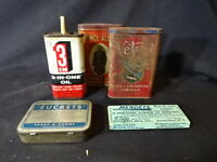 Old Vtg Advertising Tin LOT 3-In-One Oil Sucrets Prince Albert Velvet Mendets