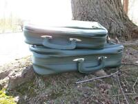 Vintage made in Japan green vinyl luggage carry on case 2 small suitcase set