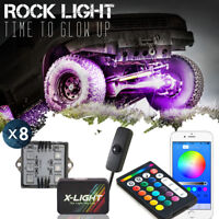 Bluetooth LED Rock Light Pods 8pc for Trucks Jeeps ATV Underglow with Switch