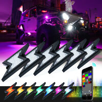 Xprite 6pcs Lightning LED RGB Rock Lights Wireless Bluetooth Offroad Underbody