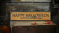 Custom Family Happy Halloween Sign -Distressed Wooden Sign ENS1001464