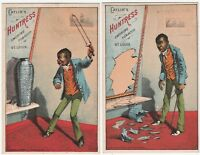 RARE Trade Card SET of 2 Catlin Huntress Tobacco 1880 Comic Black Americana Man