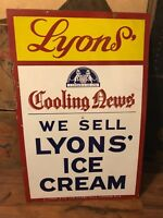 Vintage Lyons Ice Cream Porcelain Sign-Great Condition!