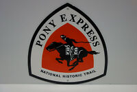 PONY EXPRESS NATIONAL SCENIC TRAIL BAKED ENAMEL SIGN. MINT NOS. HEAVY OUTDOOR.
