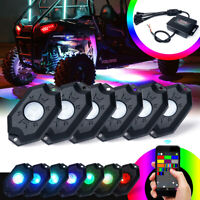 Xprite 6PCS RGB LED Rock Lights For Underglow Off Road Truck SUV
