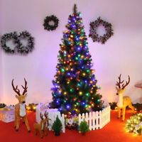 7ft Pre-Lit PVC Artificial Christmas Tree with LED Multicolor Lights Decaration