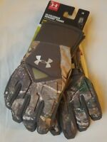 $70 Women's Under Armour Large Hunting Gloves Realtree Xtra Scent Control Camo L
