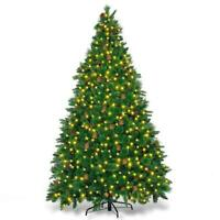 7.5ft Artificial Christmas Tree Premium Spruce Hinged Tree with LED Lights and S