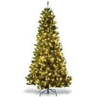 7.5 ft Artificial Christmas Tree Premium Spruce Hinged Tree with LED Lights and