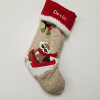 Pottery Barn Kids Devin Christmas Stocking Personalized Woodland Raccoon