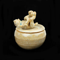 RAY DAVIS Stoneware Bowl with Rabbit Lid - Signed Art Pottery Covered Bunny Jar