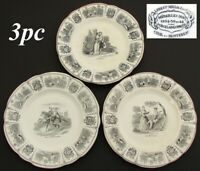 Set of 3 Antique French Creil Faience 8quot; Cabinet Plates Romanic Themed Figural