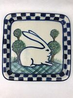 "Debbie Dean Pottery Signed Rabbit Blue Checkerboard Stoneware Folk Art 9"" Signed"