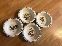Vintage 1995 Kelloggs Cereal Bowls 4 pc. set Tony Corn Flakes Snap Crackle Sam
