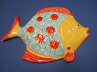 Vintage Italy Mid Century Terracotta Fish Wall Plaque Hanging 11quot; RARE