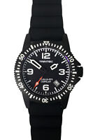 Trintec Aviation Zulu-01 Co-Pilot Automatic Men Black Steel Watch w Blk/Org Band