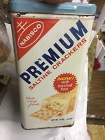 NABISCO PREMIUM SALTINE CRACKER TIN BOX CANISTER 14 OZ 1970's