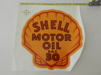 VINTAGE SHELL MOTOR  OIL WATER SLIDE DECAL- VINTAGE SERVICE STATION- GAS PUMP