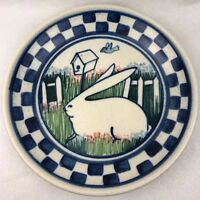 "Debbie Dean Pottery Rabbit Blue Checkerboard Stoneware Platter 13"" Folk Art"