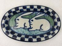"Debbie Dean Pottery Signed Rabbit Blue Checkerboard Stoneware Folk Art 7"" Signed"